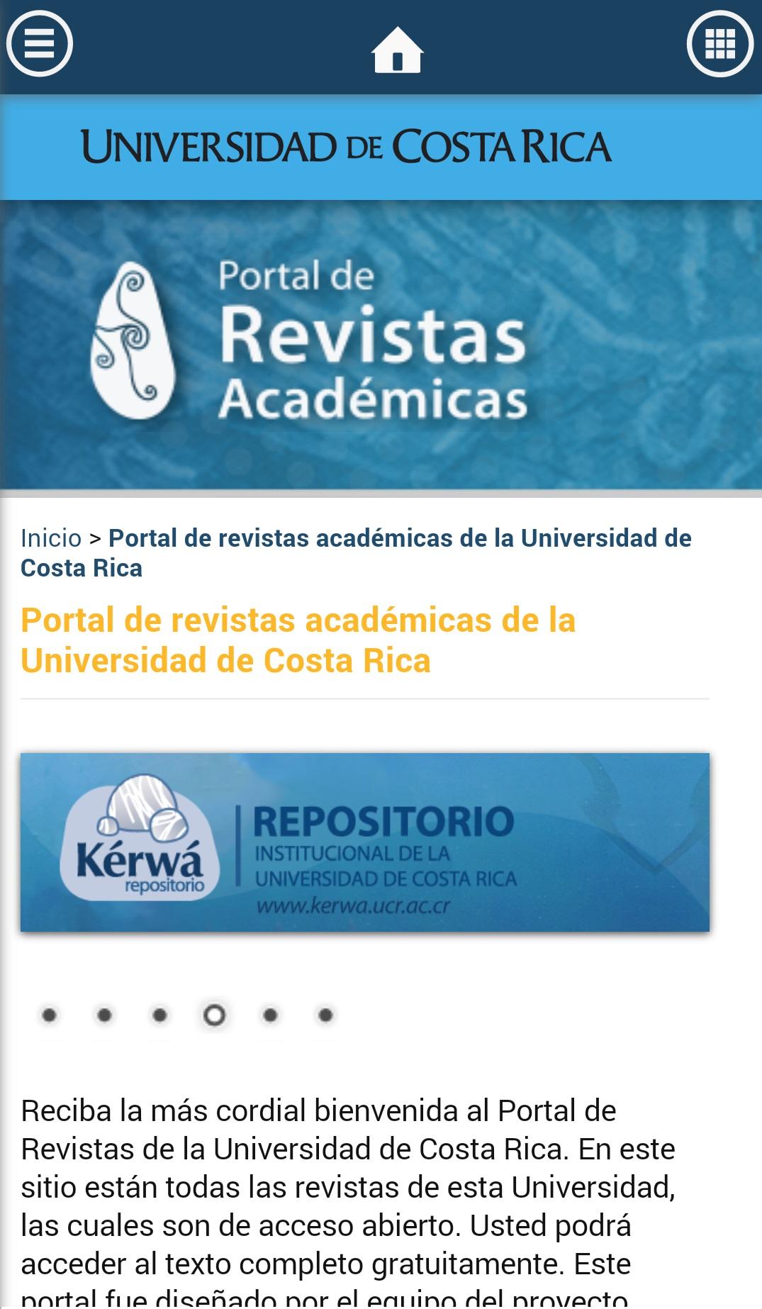 Imagen del Portal de Revistas desde el móvil